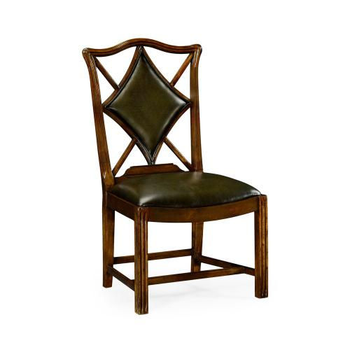 """Playing card """"Diamond"""" side chair with medium English library green leather"""