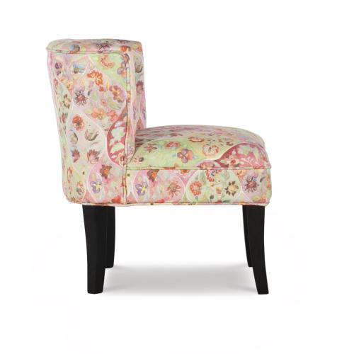 Whimsical Floral Upholstery Fabric Armless Accent Chair, Multi