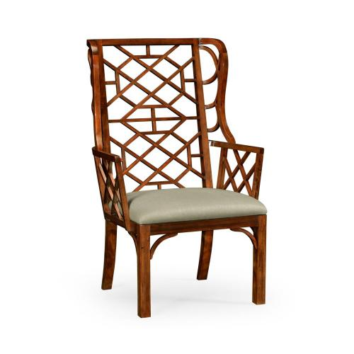 Imperial Mahogany Lattice Back Wing Chair, Upholstered in MAZO