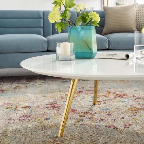 """Lippa 40"""" Round Wood Top Coffee Table with Tripod Base in Gold White"""