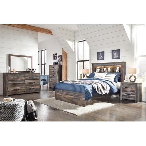 Full Bookcase Bed With Mirrored Dresser, Chest and 2 Nightstands