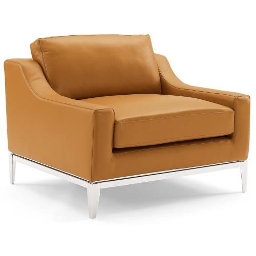 Harness Stainless Steel Base Leather Loveseat & Armchair Set in Tan