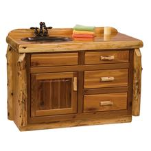 Vanity Base - 48-inch - Natural Cedar - Sink Left