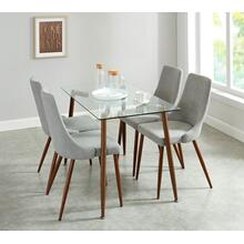 Abbot/Cora 5pc Dining Set, Walnut/Grey