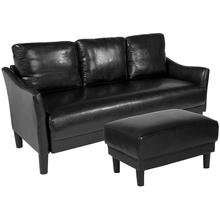 Asti Upholstered Sofa and Ottoman in Black LeatherSoft