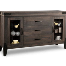 Chattanooga Sideboard w/2 Glass Doors & 3/Dwrs in Center & 4/Glass Adjust.