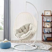 Hide Outdoor Patio Swing Chair With Stand in White Beige