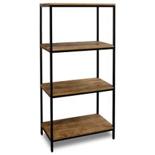 CHATTERCUT SOLID MANGO  60ht X 28w X 16d  Four Tier Display Shelf in a Medium Natural Finish & Bla
