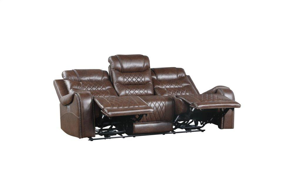 Power Double Reclining Sofa with Drop-Down Cup Holders, Receptacles and USB ports