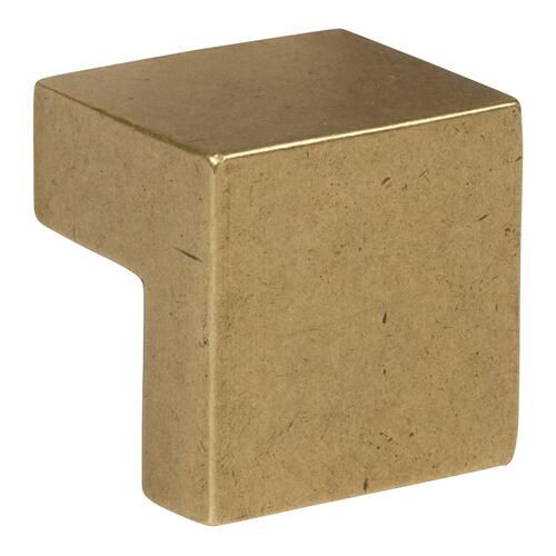 Atlas Homewares - Small Square Knob 5/8 Inch (c-c) - Vintage Brass