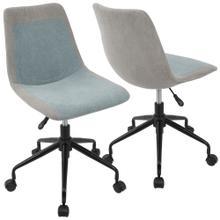 See Details - Orzo Task Chair - Black Metal, Grey Denim, Blue Denim