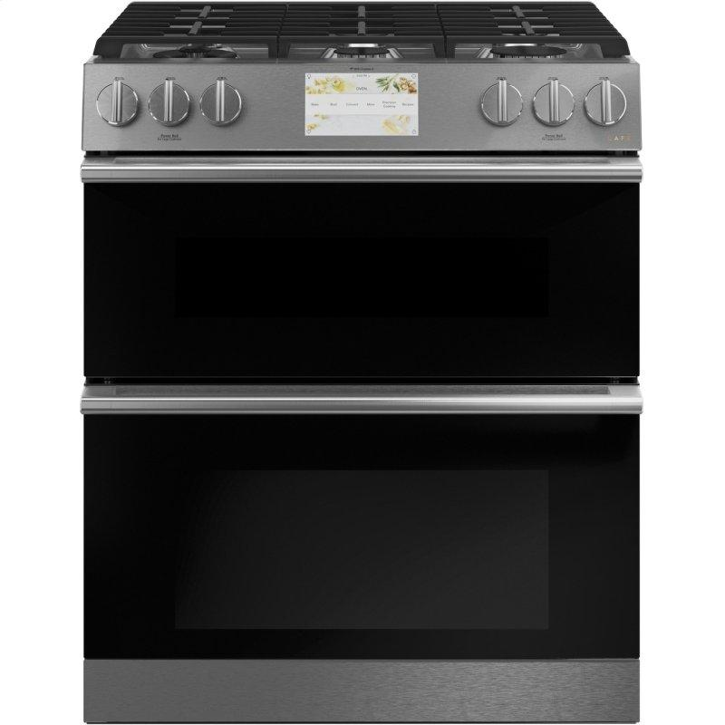 "30"" Smart Slide-In, Front-Control, Dual-Fuel, Double-Oven Range with Convection in Platinum Glass"