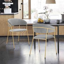 Nara Modern Gray Velvet and Gold Metal Leg Dining Room Chairs - Set of 2