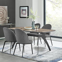 Andes and Sunny Gray Fabric 5 Piece Rectangular Dining Set