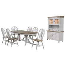 DLU-CG4296-124SGOBH8  8 Piece Double Pedestal Extendable Dining Table Set  Lighted China Cabinet  Distressed Gray and Brown Wood