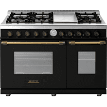 See Details - Range DECO 48'' Classic Black matte, Bronze 6 gas, griddle and 2 gas ovens