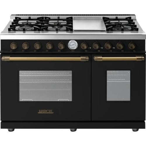 Range DECO 48'' Classic Black matte, Bronze 6 gas, griddle and 2 gas ovens