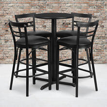 24'' Round Black Laminate Table Set with X-Base and 4 Two-Slat Ladder Back Metal Barstools - Black Vinyl Seat