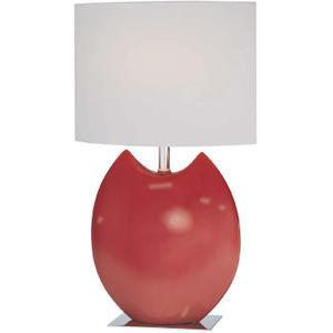 Ceramic Table Lamp, Red/off-white Fabric Shd, E27 Cfl 13w