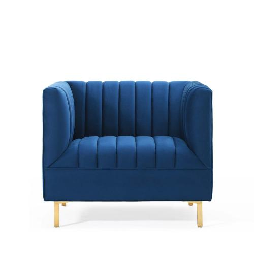 Modway - Shift Channel Tufted Performance Velvet Armchair in Navy