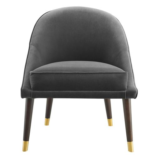 Avalon Velvet Accent Chair - Charcoal