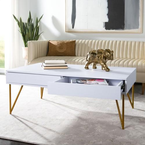 Safavieh - Pine Two Drawer Coffee Table - White / Gold