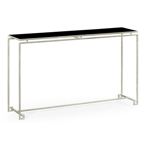 Silver Iron Large Console Table with A Black Glass Top