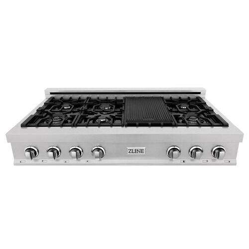 """Zline Kitchen and Bath - ZLINE 48"""" Porcelain Gas Stovetop in DuraSnow® Stainless Steel with 7 Gas Burners and Griddle (RTS-48) [Color: DuraSnow® Stainless Steel with Brass Burners]"""