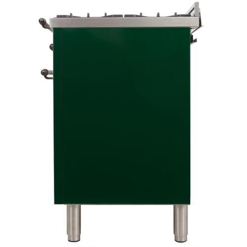 Nostalgie 24 Inch Dual Fuel Natural Gas Freestanding Range in Emerald Green with Bronze Trim