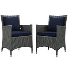 Sojourn 2 Piece Outdoor Patio Sunbrella® Dining Set in Canvas Navy