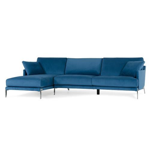David Ferrari Achen Modern Blue Velvet Fabric Sectional Sofa