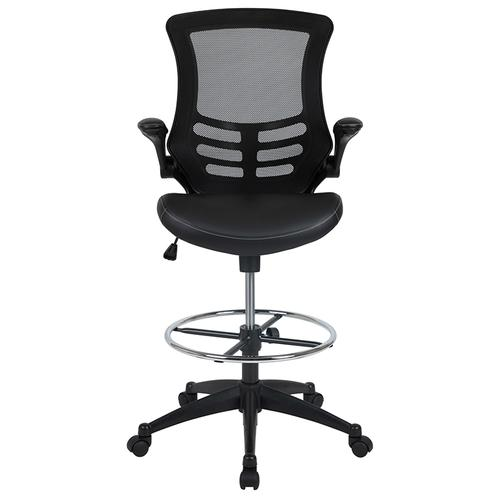 Gallery - Mid-Back Black Mesh Ergonomic Drafting Chair with LeatherSoft Seat, Adjustable Foot Ring and Flip-Up Arms