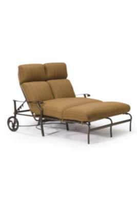 Montreux Cushion Double Chaise Lounge with wheels