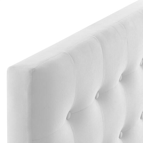 Emily Twin Biscuit Tufted Performance Velvet Headboard in White