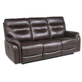 Fortuna Leather Dual Power Reclining Sofa, Coffee