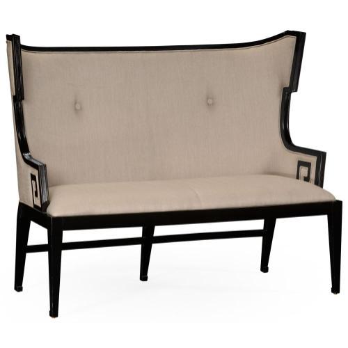 Greek key design Biedermeier black upholstered settle