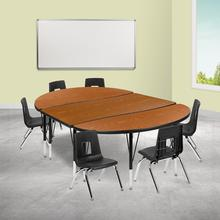 """76"""" Oval Wave Collaborative Laminate Activity Table Set with 14"""" Student Stack Chairs, Oak\/Black"""