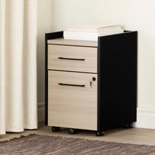 Kozack - 2-Drawer Mobile File Cabinet, Soft Elm and Matte Black