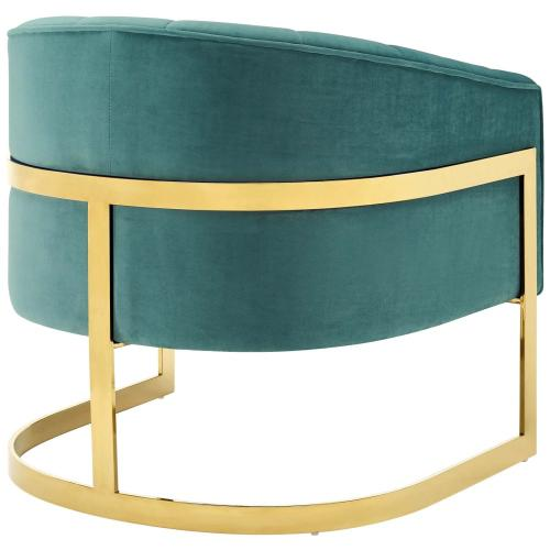 Modway - Esteem Vertical Channel Tufted Performance Velvet Accent Armchair in Teal