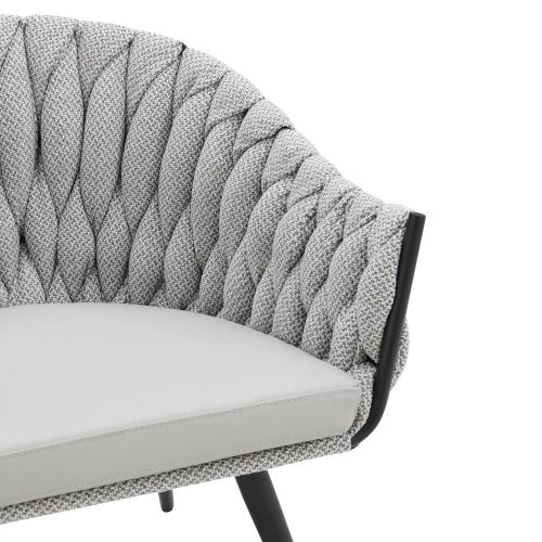 Fabian KD Fabric/ PU Accent Arm Chair, Alpine Light Gray/ Fairfax Gray
