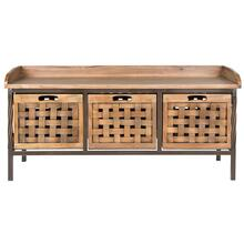 See Details - Isaac 3 Drawer Wooden Storage Bench - Antique Pewter / Oak