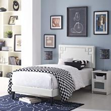 Ruthie Twin Vinyl Platform Bed with Squared Tapered Legs in White