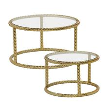 """S/2 Metal 22/28"""" Rope Side Tables, Gold"""