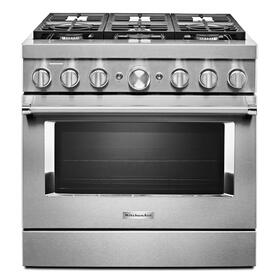 KitchenAid® 36'' Smart Commercial-Style Dual Fuel Range with 6 Burners - Stainless Steel