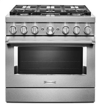 KitchenAid™ 36'' Smart Commercial-Style Dual Fuel Range with 6 Burners - Stainless Steel