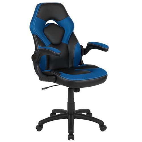 Flash Furniture - Black Gaming Desk and Blue\/Black Racing Chair Set with Cup Holder, Headphone Hook, and Monitor\/Smartphone Stand