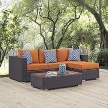 Convene 3 Piece Outdoor Patio Sofa Set in Espresso Orange