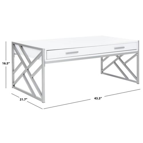 Safavieh - Elaine 2 Drawer Coffee Table - White / Silver