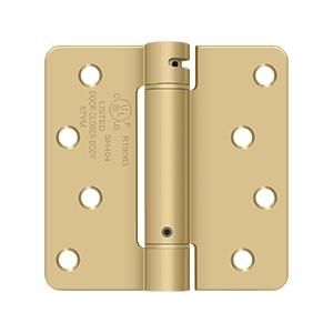 """4"""" x 4"""" x 1/4"""" Spring Hinge, UL Listed - Brushed Brass"""