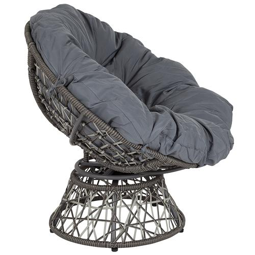 Flash Furniture - Bowie Comfort Series Swivel Patio Chair with Dark Gray Cushion